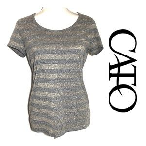 Cato Gray and Gold Striped T-shirt